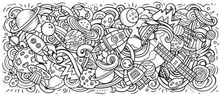 Space hand drawn cartoon doodles illustration. Cosmic funny objects and elements design. Creative art background. Sketchy vector banner 일러스트
