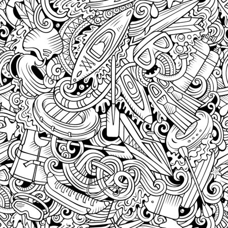 Cartoon cute doodles hand drawn water extreme sports seamless pattern. Line art detailed, with lots of objects active lifestyle background. Endless funny vector illustration. All objects separate. Ilustração