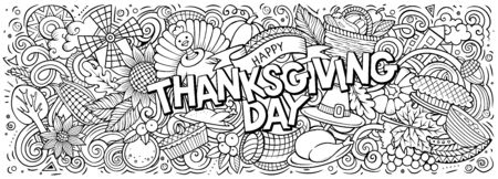 Happy Thanksgiving hand drawn cartoon doodles illustration. Holiday funny objects and elements poster design. Creative art background. Sketchy vector banner