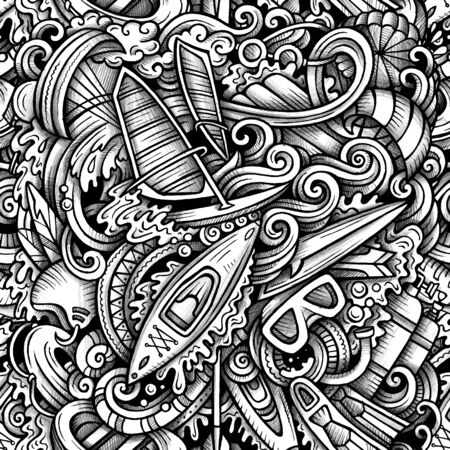 Water extreme sports vector hand drawn doodles seamless pattern. Çizim