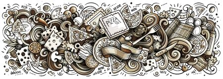 Pizza hand drawn cartoon doodles illustration. Monochrome vector banner
