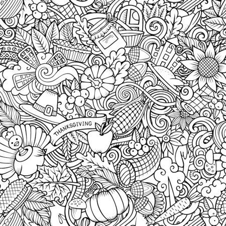 Cartoon carino scarabocchi disegnati a mano Happy Thanksgiving seamless pattern