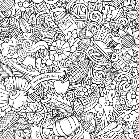 Cartoon cute doodles hand drawn Happy Thanksgiving seamless pattern
