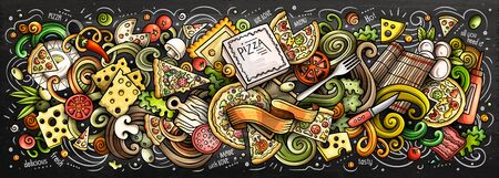 Pizza hand drawn cartoon doodles illustration. Colorful vector banner