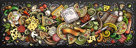 Pizza hand drawn cartoon doodles illustration. Colorful vector banner Zdjęcie Seryjne - 133285340