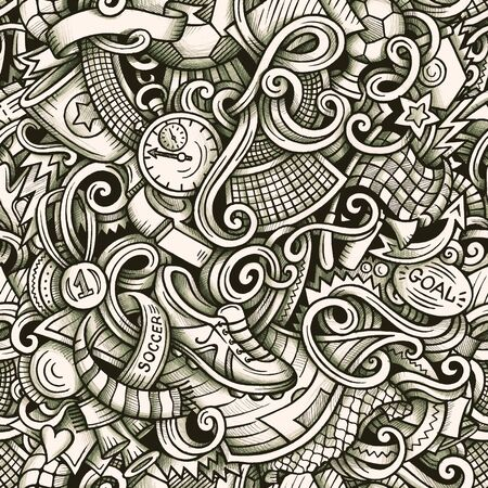 Football vector hand drawn doodles seamless pattern. Graphics background design.