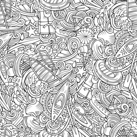 Cartoon cute doodles hand drawn water extreme sports seamless pattern.