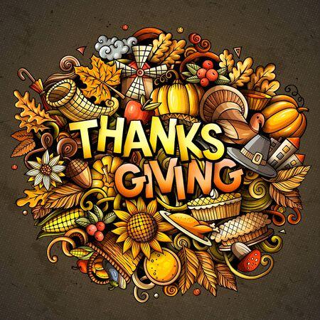 Happy Thanksgiving hand drawn cartoon doodles illustration.  イラスト・ベクター素材