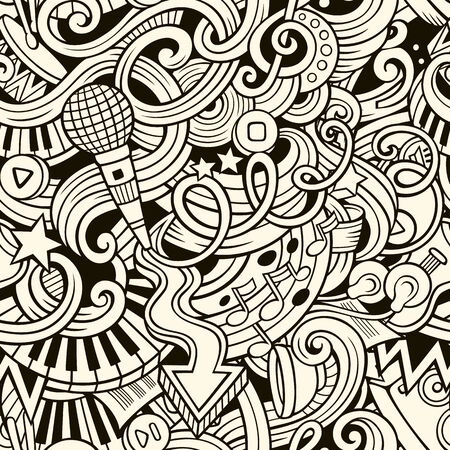 Cartoon hand-drawn doodles on the subject of music style theme seamless pattern. line art background