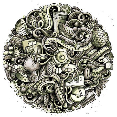 Cartoon doodles Diet food toned illustration