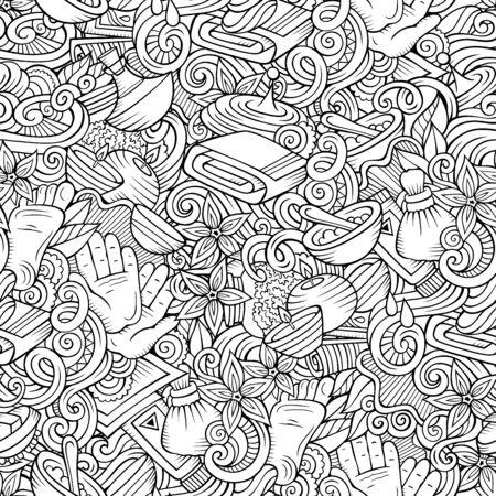 Massage hand drawn doodles seamless pattern. Spa therapy background. Cartoon relax fabric print design. Line art illustration. Фото со стока - 133683715