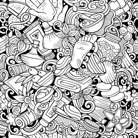Massage hand drawn doodles seamless pattern. Spa therapy background. Cartoon relax fabric print design. Line art illustration. Фото со стока - 133683713