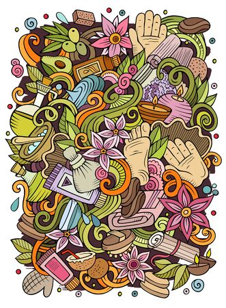 Cartoon cute doodles hand drawn Massage illustration. Colorful detailed, with lots of objects background. Funny artwork. Bright colors picture with Spa theme items.