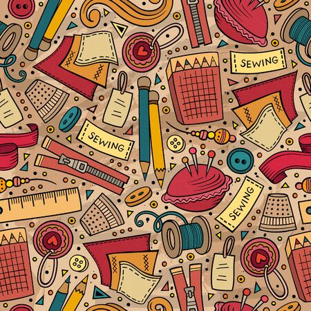 Cartoon cute hand drawn Handmade seamless pattern. Colorful detailed, with lots of objects background. Endless funny illustration Stockfoto