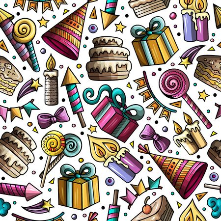 Cartoon hand-drawn doodles on the subject holidays, birthday theme seamless pattern. Colorful detailed, with lots of objects background Stock Photo