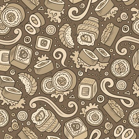 Cartoon cute hand drawn Japan food seamless pattern Stock fotó - 133683915