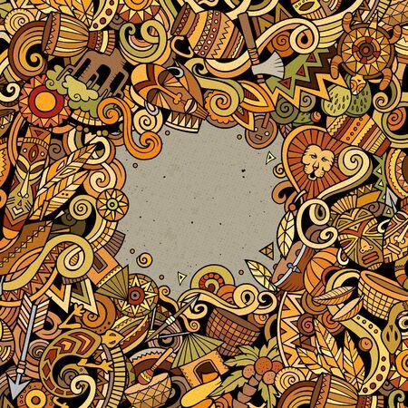 Cartoon cute doodles Africa word. Colorful illustration 写真素材