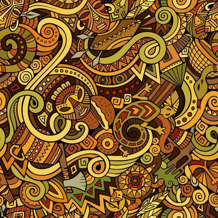 Cartoon cute doodles hand drawn Africa seamless pattern 写真素材