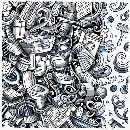 Bathroom hand drawn doodles illustration. Bath room frame card design. Interior elements and objects cartoon background. Monochrome funny border.