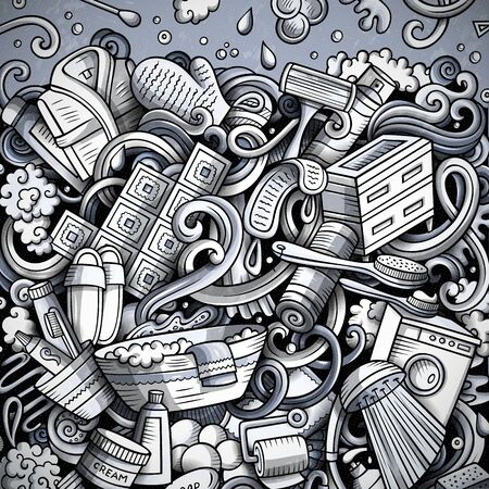 Bathroom hand drawn doodles illustration. Bath room frame card design. Interior elements and objects cartoon background. Monochrome funny border. Фото со стока - 133684034