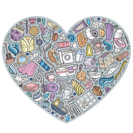 Colorful hand drawn set of Bathroom cartoon doodle objects, symbols and items. Heart composition