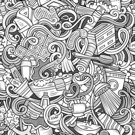 Cartoon cute doodles hand drawn Bathroom seamless pattern. Line art detailed, with lots of objects background. Endless funny illustration Фото со стока - 133684036