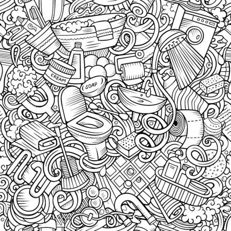 Cartoon cute doodles hand drawn Bathroom seamless pattern. Line art detailed, with lots of objects background. Endless funny illustration Фото со стока - 133684095