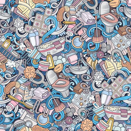 Bathroom hand drawn doodles seamless pattern. WC background. Cartoon fabric print design. Colorful illustration.