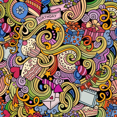 Cartoon cute doodles hand drawn Holidays seamless pattern. Color detailed, with lots of objects background. Endless funny illustration with Birthday symbols and items Stock Illustration - 133684108