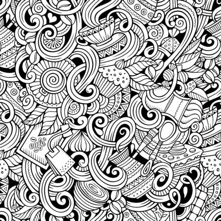Cartoon hand-drawn doodles on the subject of cafe, coffee shop theme seamless pattern. Line art sketchy detailed, with lots of objects background
