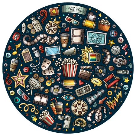 Colorful hand drawn set of Cinema cartoon doodle objects, symbols and items. Round composition