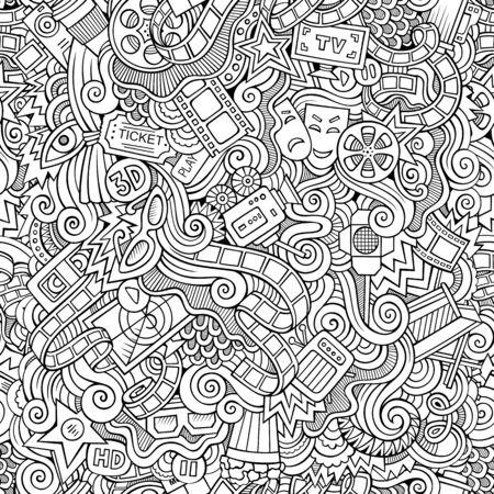 Cartoon doodles hand drawn cinema seamless pattern Zdjęcie Seryjne