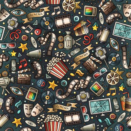 Cartoon cute hand drawn Cinema seamless pattern. Colorful detailed, with lots of objects background. Endless funny illustration