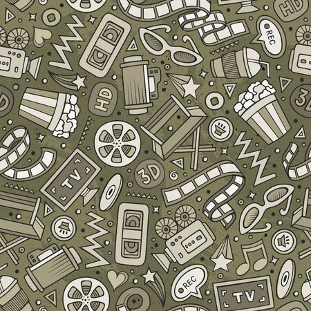 Cartoon cute hand drawn Cinema seamless pattern. Monochrome detailed, with lots of objects background. Endless funny illustration