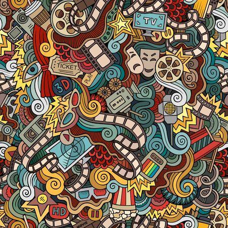 Cartoon niedlich Kritzeleien Kino nahtlose Muster. Bunte Illustration mit vielen Objekten. Hintergrund mit Filmsymbolen und -elementen