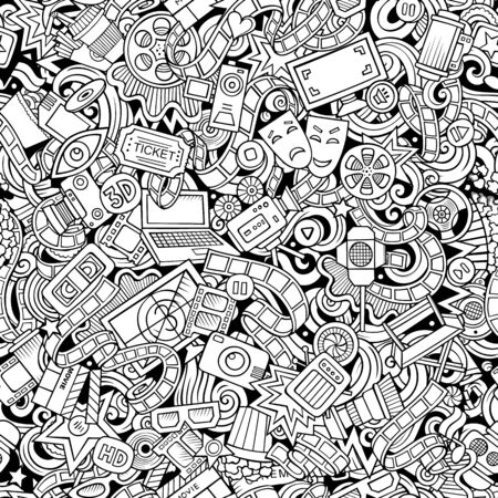 Cartoon cute doodles Cinema seamless pattern. Line art illustration with lots of objects. All items separated. Background with movie symbols and elements