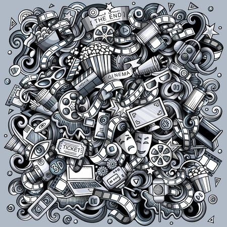 Cartoon doodles Cinema illustration. Toned, detailed, with lots of objects background. Monochrome Movie funny picture