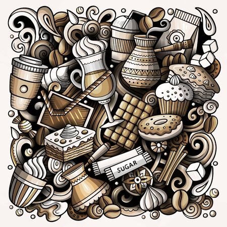 Cartoon doodles Coffe shop illustration. Monochrome, detailed, with lots of objects background. Cafe funny picture