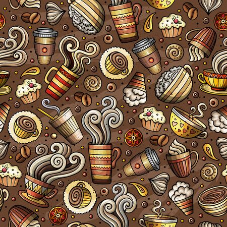 Cartoon coffee, coffee shop, cafe, tea, sweets seamless pattern. Lots of symbols, objects and elements. Perfect funny background.