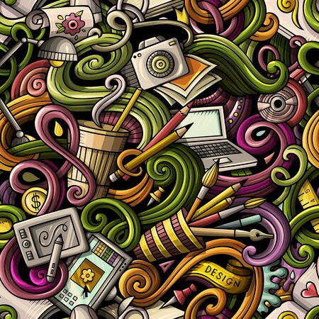 Cartoon hand-drawn doodles on the subject of Design and art theme seamless pattern. Colorful detailed, with lots of objects background