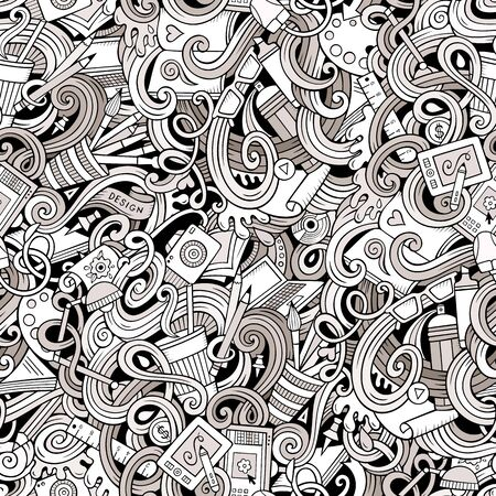 Cartoon hand-drawn doodles on the subject of Design and art theme seamless pattern. Line art detailed, with lots of objects background