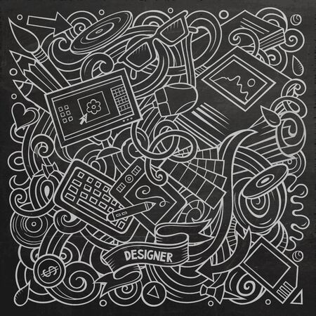Cartoon doodles Art and Design illustration. Line art, detailed, with lots of objects background. Chalkboard artistick funny picture Фото со стока