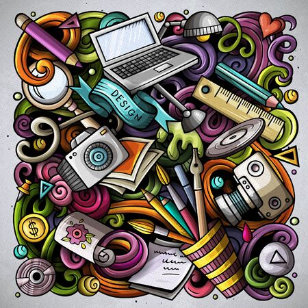 Cartoon doodles Art and Design illustration. Colorful, detailed, with lots of objects background. Bright colors artistic funny picture