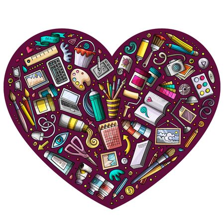 Colorful hand drawn set of Art and Design cartoon doodle objects, symbols and items. Heart form composition
