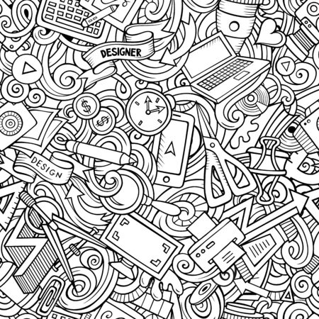 Cartoon cute doodles hand drawn Designer seamless pattern