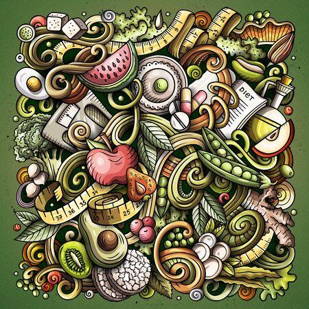 Cartoon doodles Diet food color illustration