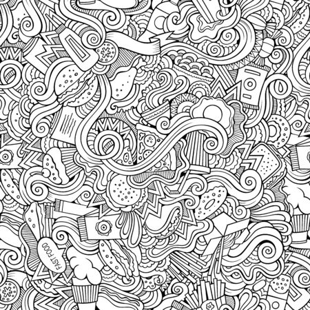 Fastfood hand drawn doodles seamless pattern. Fast food background 版權商用圖片