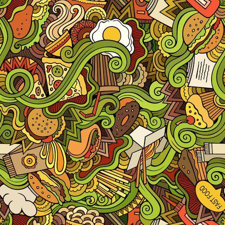 Seamless doodles abstract fast food pattern 版權商用圖片
