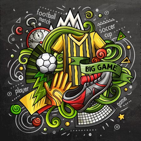 Soccer cartoon doodle illustration. Chalkboard design