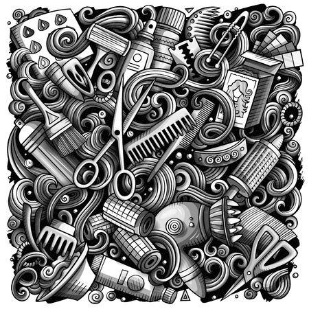 Hair salon hand drawn doodles illustration. Hairstyle poster design. 写真素材